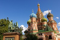 View of the Orthodox Cathedral of St. Basil in Red Square in Moscow, Russia.