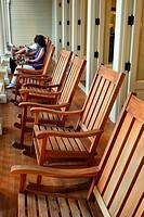 Rocking Chairs on the Veranda of the Moana Surfrider Hotel, Waikiki.