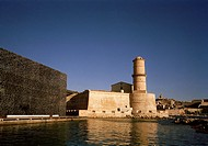 Fort Saint-Jean and the MuCEM in Marseille in Provence in Bouches du Rhone in France in Europe.