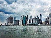 Cloudy Manhattan Skyline Seen from Brooklyn