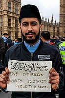 Young British Muslims Hold Up Signs On Westminster Bridge Expressing Loyalty To Britain As Part Of Their Faith After The London Terror Attack One Week...
