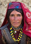 Portrait of a wakhi nomad woman, Big pamir, Wakhan, Afghanistan.