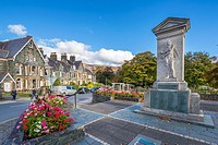 The Keswick war memorial, County Square, Lake District National Park, Cumbria, England, United Kingdom, Europe.