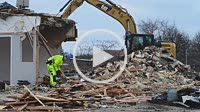 Demolition work in Ystad, Sweden