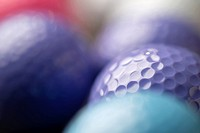 Detail of coloured golf balls.