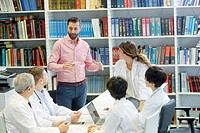 Salesman at doctors´ meeting, clinical session, Hospital, Donostia, San Sebastian, Gipuzkoa, Basque Country, Spain