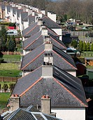 Looking down roofs on row of houses in South Queensferry Scotland, United Kingdom.