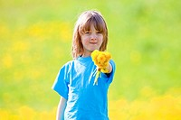 Boy Holding a Bunch of Dandelions in a Spring Meadow.