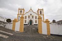 Traditional Azores church of Santa Cruz. Praia da Vitoria in Terceira island on January 9, 2017 Portugal.