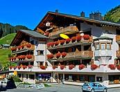 Building housing the local tourism office Ferienladen St. Antönien, St. Antönien. Prättigau region, Graubünden, Grisons, Switzerland.