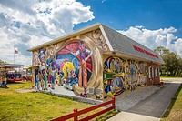 Murals on American Clown Museum & School in Lake Placid Florida known as the Town of Murals.