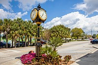 Fancy clock on street in Lake Placid Florida known as the Town of Murals.