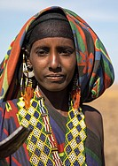 Portrait of an Issa tribe woman with a beaded necklace, Afar region, Yangudi Rassa National Park, Ethiopia.