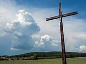 Poland, Podlasie region, old cross. Typical in the eastern part of Poland