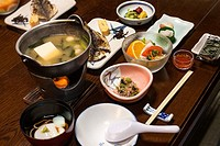 Multi course traditional breakfast at a onsen resort in Hakone, Japan.