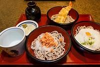 Soba noodle sampler meal at a restaurant in Ikegami, Tokyo, Japan.