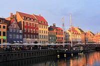 Nyhavn Canal at Sunset, Copenhagen, Denmark.
