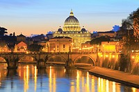 St Peter's Basilica and the Tiber at Sunset, Rome, Italy.