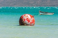 Boat and a bouy at Langebaan Lagoon, Western Cape Province, South Africa.