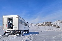 4WD tourist bus in Kangerlussuaq, Artic Circle, Greenland, Europe.