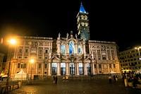 The Basilica di Santa Maria Maggiore at night,,Piazza dell'Esquilino, Rome, capital of Italy and Lazio region, Europe.