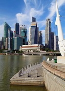 Singapore, Central Business District, skyline, Fullerton Hotel,.