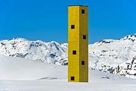 Look-out Las Colonnas, Bivio, Julier Pass, Graubunden, Grisons, Switzerland.