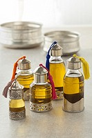 Moroccan bottles with organic cosmetic oil in the hammam.