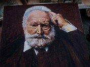 France. Nouvelle Aquitaine. Gironde. Portrait of Victor Hugo, after a Bonnard painting, on the flea market of Saint Michel, at Bordeaux.