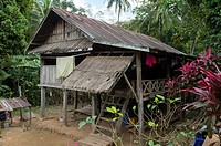 A house in Ban Muangkeo Village, a cultural heritage village on the Mekong River near Luang Prabang in Central Laos.