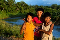 Friend boys in Rapti River, Chitwan National Park, Nepal, Asia.