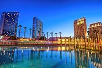 Downtown San Diego at night, cityscape. San Diego, California, USA.