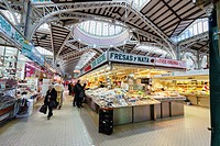 Interior of the Central Market of Valencia, Spain, Europe