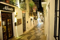 Night photograph of typical whitewashed street, Altea old town, Alicante, Valencia, Spain, Europe