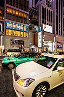 Taxi traffic in the evening, Ginza, Tokyo, Japan.
