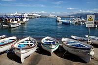 Island of Capri (Italy). Boats in the port of Marian Grande on the island of Capri.