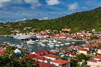 Boats crowd the marina in Gustavia, St Barths, French West Indies.