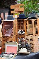 Flea market items for sale along Rue de Bretagne, Maris, Paris, Ile-de-France, France.
