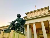 Velazquez monument and facade of The Prado Museum. Madrid, Spain.