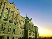 Facade of Royal Palace, night view. Madrid, Spain.