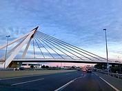 Bridge over A-6 motorway at dusk. Madrid, Spain.