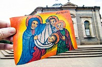 Orthodox holy family painting and St George Cathedral, Piazza, Addis Ababa, Ethiopia