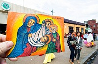 Orthodox holy family painting and Eden Street, Piazza, Addis Ababa, Ethiopia