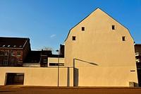 Side of building on the Hoge Barrakkan in Maastricht Ceramique neighbourhood. Building has been freshly painted.