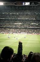 Real Madrid versus Atletico de Madrid in Santiago Bernabeu Stadium during a league match 2016. Madrid. Spain