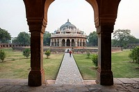 View Isa Khan Niyazi's tomb, located in New Delhi, India.