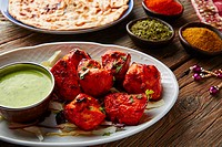 Chicken Tikka indian food recipe with spices.