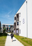 New modern student apartment accomodation blocks at the Science and Technology Park in Adlershof Berlin, Germany.