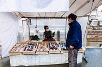 Street stall in morning market, Takayama, Japan.