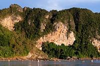 Happy Island, Hat Phra Nang Beach, Railay, Krabi Province, Thailand, Southeast Asia, Asia. Hat Phra Nang Beach, Railay Beach, forms one of the most be...